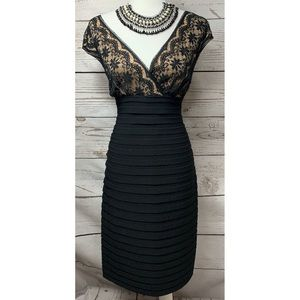 NWOT Adrianna Papell Black & Tan Lace Midi Dress